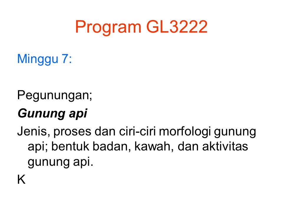 Program GL3222 Minggu 7: Pegunungan; Gunung api Jenis, proses dan ciri-ciri morfologi gunung api; bentuk badan, kawah, dan aktivitas gunung api. K