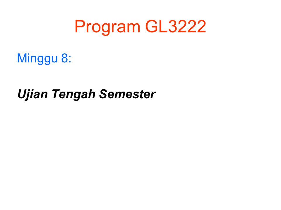 Program GL3222 Minggu 8: Ujian Tengah Semester
