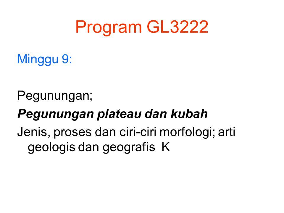 Program GL3222 Minggu 9: Pegunungan; Pegunungan plateau dan kubah Jenis, proses dan ciri-ciri morfologi; arti geologis dan geografis K