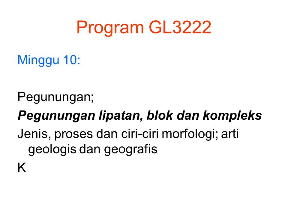 Program GL3222 Minggu 10: Pegunungan; Pegunungan lipatan, blok dan kompleks Jenis, proses dan ciri-ciri morfologi; arti geologis dan geografis K