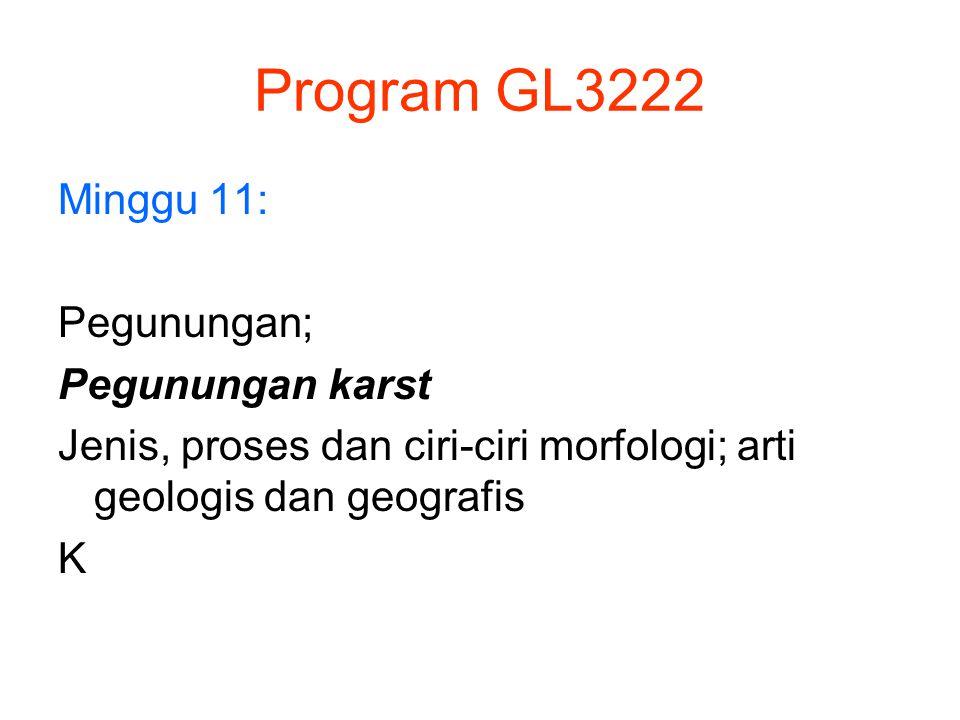 Program GL3222 Minggu 11: Pegunungan; Pegunungan karst Jenis, proses dan ciri-ciri morfologi; arti geologis dan geografis K