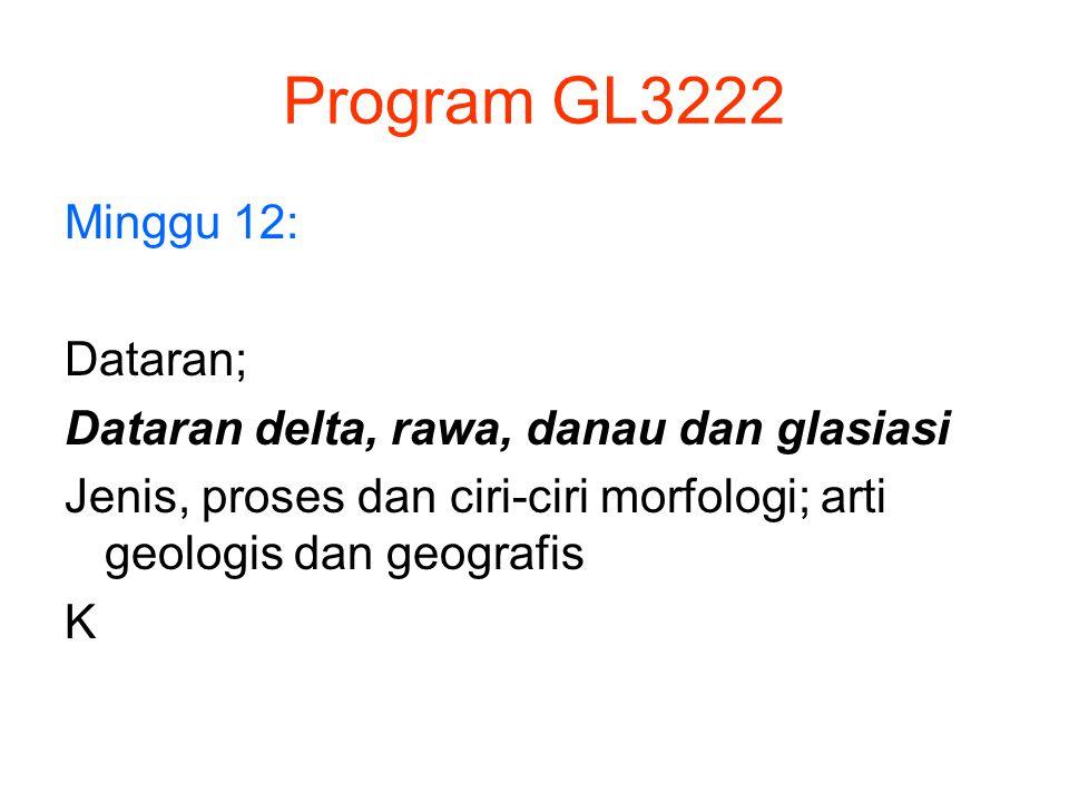 Program GL3222 Minggu 12: Dataran; Dataran delta, rawa, danau dan glasiasi Jenis, proses dan ciri-ciri morfologi; arti geologis dan geografis K