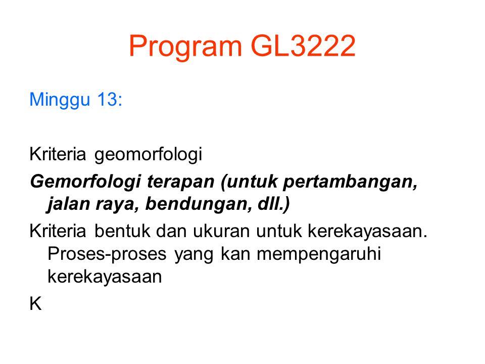 Program GL3222 Minggu 13: Kriteria geomorfologi Gemorfologi terapan (untuk pertambangan, jalan raya, bendungan, dll.) Kriteria bentuk dan ukuran untuk