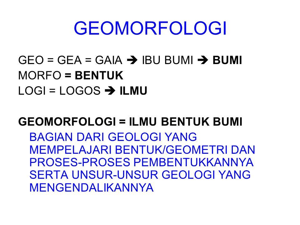 GEOMORFOLOGI GEO = GEA = GAIA  IBU BUMI  BUMI MORFO = BENTUK LOGI = LOGOS  ILMU GEOMORFOLOGI = ILMU BENTUK BUMI BAGIAN DARI GEOLOGI YANG MEMPELAJAR