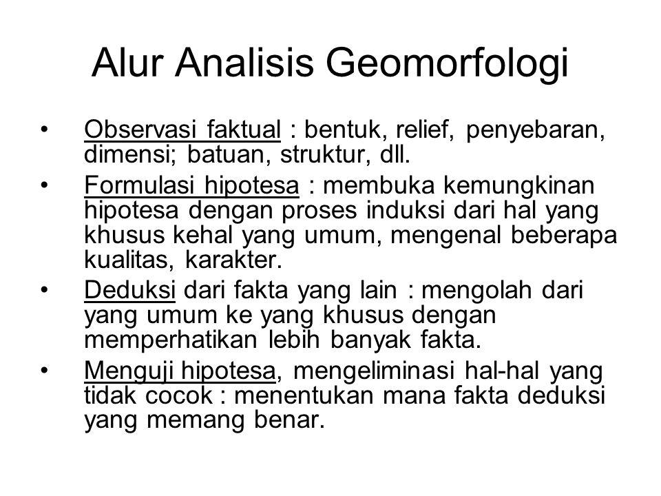 Alur Analisis Geomorfologi Observasi faktual : bentuk, relief, penyebaran, dimensi; batuan, struktur, dll. Formulasi hipotesa : membuka kemungkinan hi