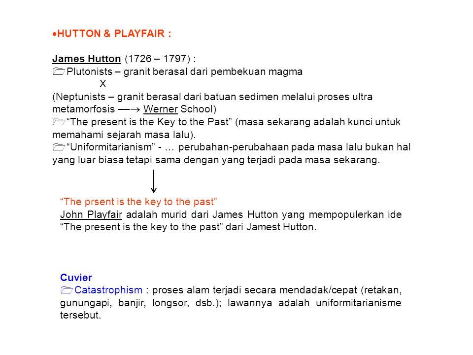  HUTTON & PLAYFAIR : James Hutton (1726 – 1797) :  Plutonists – granit berasal dari pembekuan magma X (Neptunists – granit berasal dari batuan sedim