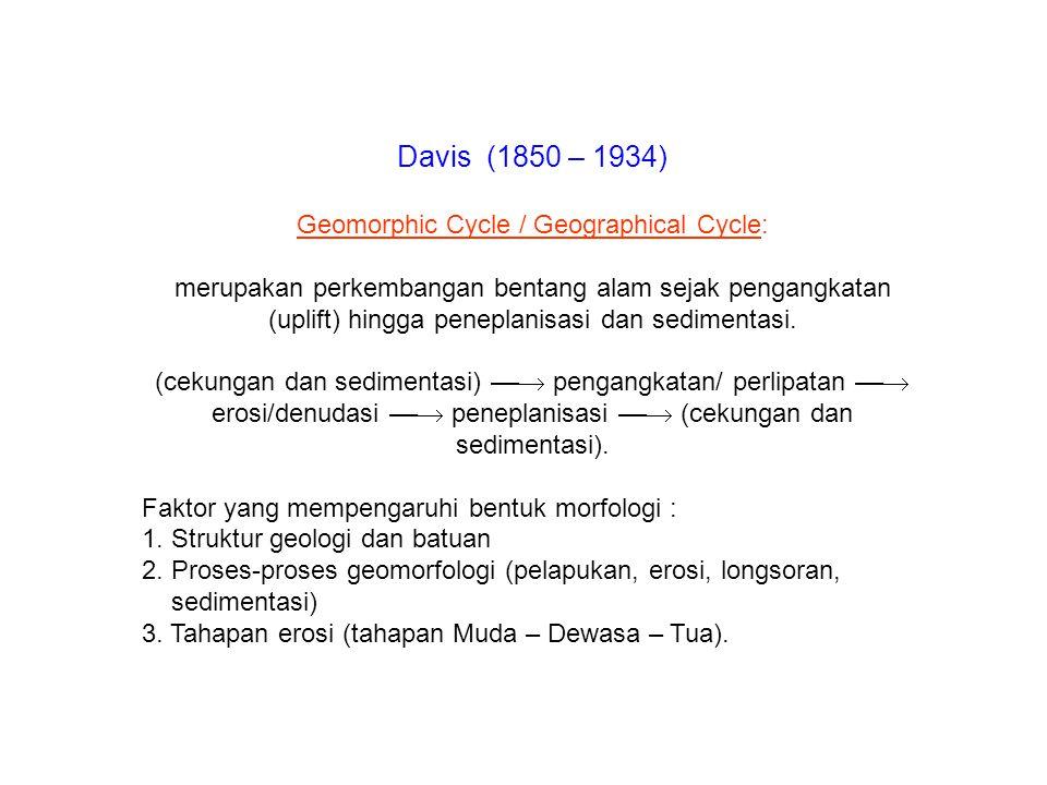 Davis (1850 – 1934) Geomorphic Cycle / Geographical Cycle: merupakan perkembangan bentang alam sejak pengangkatan (uplift) hingga peneplanisasi dan se