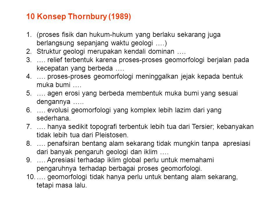 10 Konsep Thornbury (1989) 1.(proses fisik dan hukum-hukum yang berlaku sekarang juga berlangsung sepanjang waktu geologi ….) 2.Struktur geologi merup