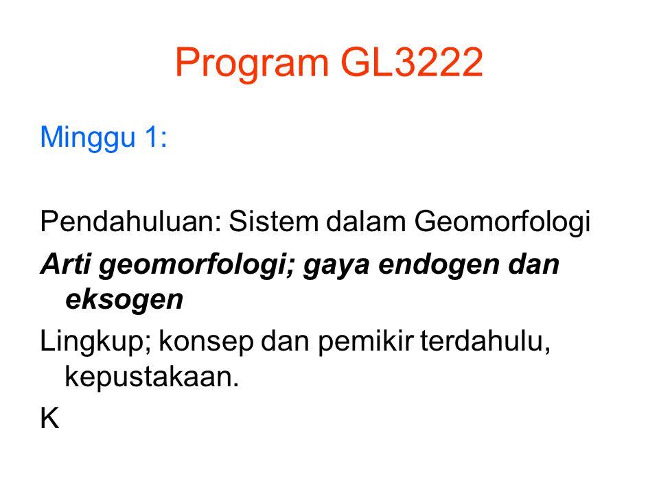 Program GL3222 Minggu 1: Pendahuluan: Sistem dalam Geomorfologi Arti geomorfologi; gaya endogen dan eksogen Lingkup; konsep dan pemikir terdahulu, kep
