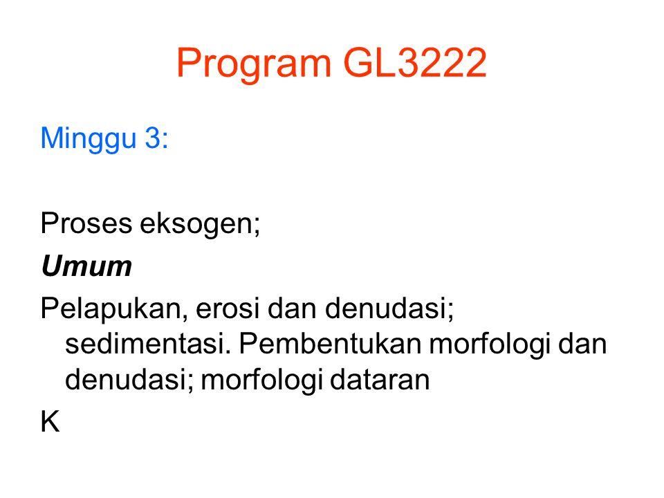 Program GL3222 Minggu 4: Proses eksogen; Pelapukan dan erosi Jenis, proses dan hasil pelapukan, jenis- jenis erosi; gerakan tanah.
