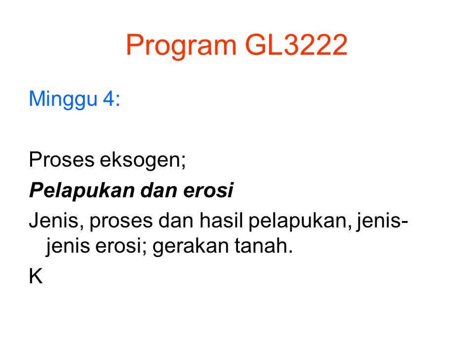 Program GL3222 Minggu 4: Proses eksogen; Pelapukan dan erosi Jenis, proses dan hasil pelapukan, jenis- jenis erosi; gerakan tanah. K