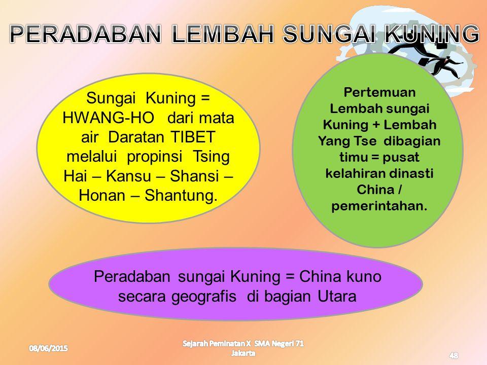 08/06/2015 Sejarah Peminatan X SMA Negeri 71 Jakarta 48 Sungai Kuning = HWANG-HO dari mata air Daratan TIBET melalui propinsi Tsing Hai – Kansu – Shan