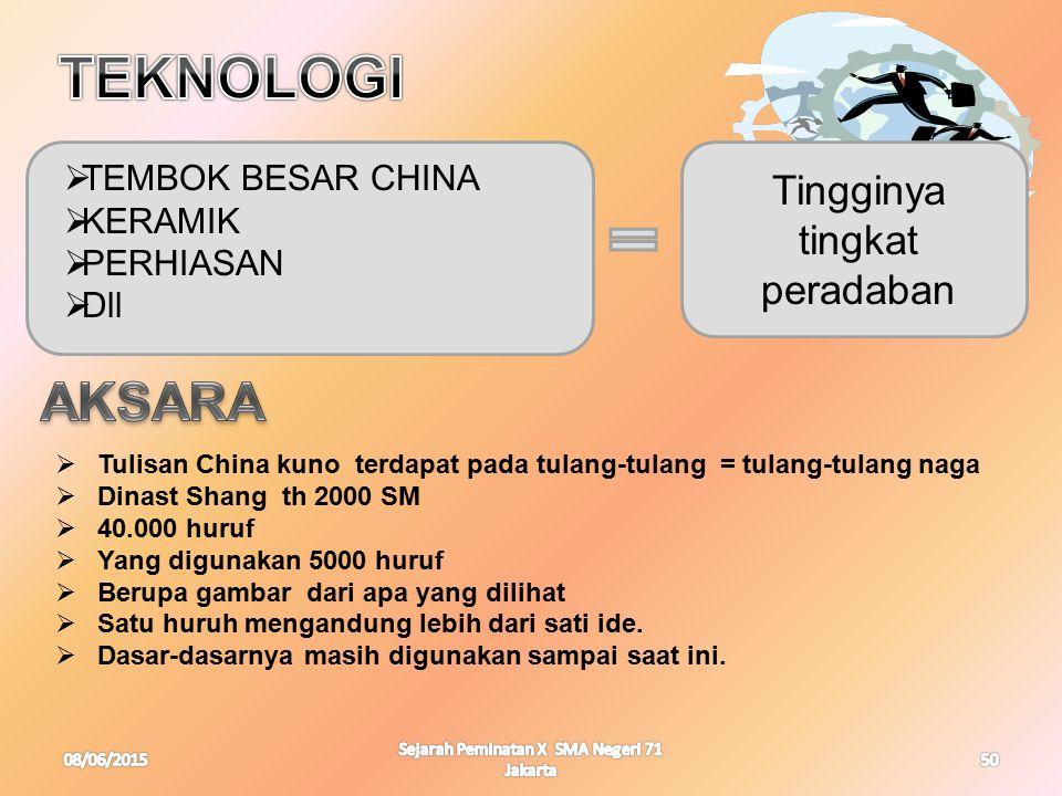 08/06/2015 Sejarah Peminatan X SMA Negeri 71 Jakarta 50  TEMBOK BESAR CHINA  KERAMIK  PERHIASAN  Dll Tingginya tingkat peradaban  Tulisan China k