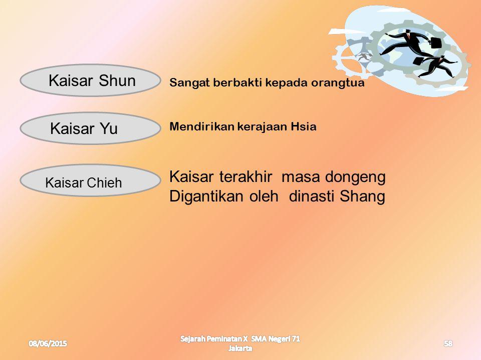 08/06/2015 Sejarah Peminatan X SMA Negeri 71 Jakarta 58 Kaisar Shun Kaisar Yu Kaisar Chieh Sangat berbakti kepada orangtua Mendirikan kerajaan Hsia Ka