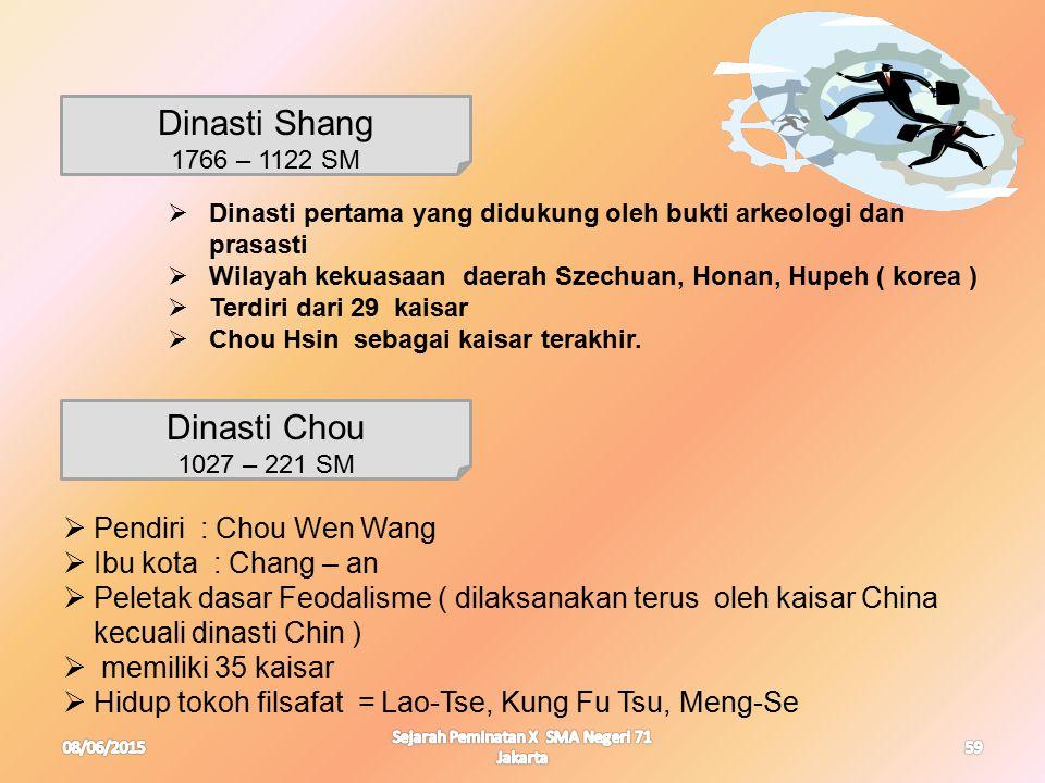 08/06/2015 Sejarah Peminatan X SMA Negeri 71 Jakarta 59 Dinasti Shang 1766 – 1122 SM  Dinasti pertama yang didukung oleh bukti arkeologi dan prasasti