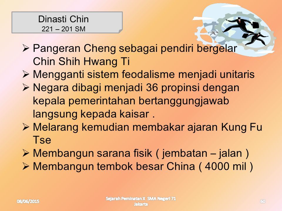 08/06/2015 Sejarah Peminatan X SMA Negeri 71 Jakarta 60 Dinasti Chin 221 – 201 SM  Pangeran Cheng sebagai pendiri bergelar Chin Shih Hwang Ti  Mengg
