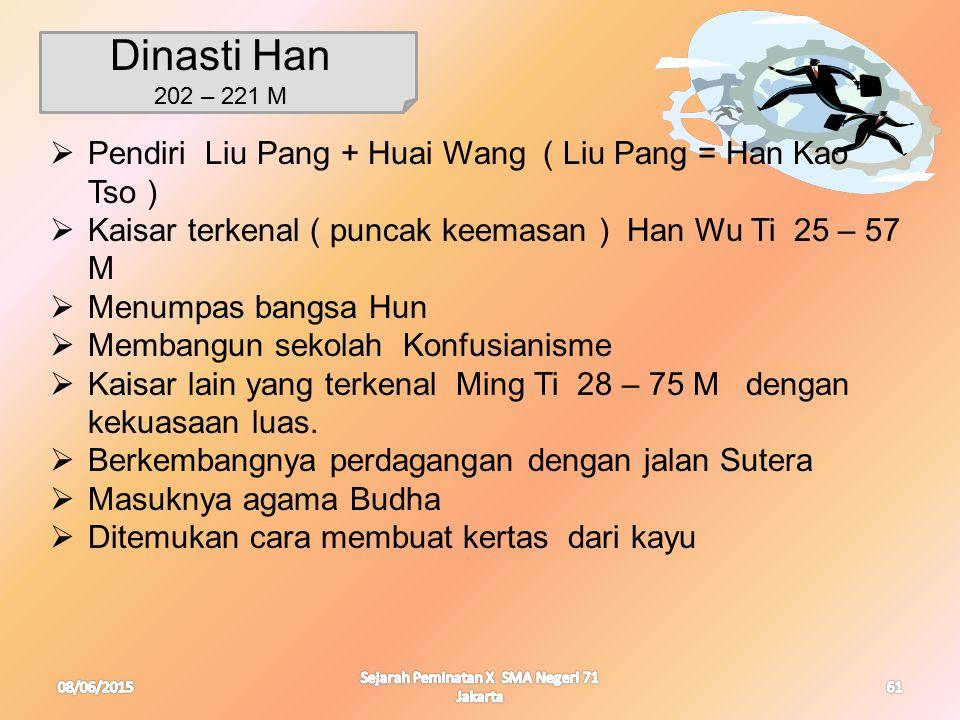 08/06/2015 Sejarah Peminatan X SMA Negeri 71 Jakarta 61 Dinasti Han 202 – 221 M  Pendiri Liu Pang + Huai Wang ( Liu Pang = Han Kao Tso )  Kaisar ter