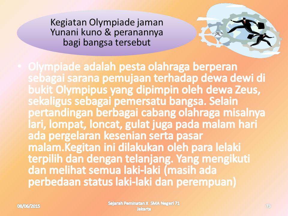 Kegiatan Olympiade jaman Yunani kuno & peranannya bagi bangsa tersebut 08/06/201573 Sejarah Peminatan X SMA Negeri 71 Jakarta