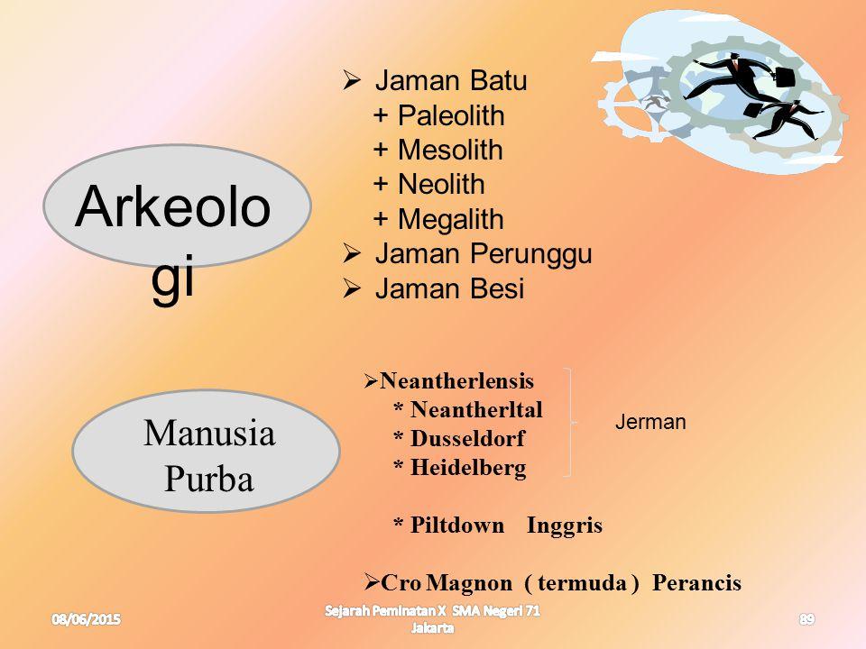 08/06/2015 Sejarah Peminatan X SMA Negeri 71 Jakarta 89 Arkeolo gi Manusia Purba  Jaman Batu + Paleolith + Mesolith + Neolith + Megalith  Jaman Peru