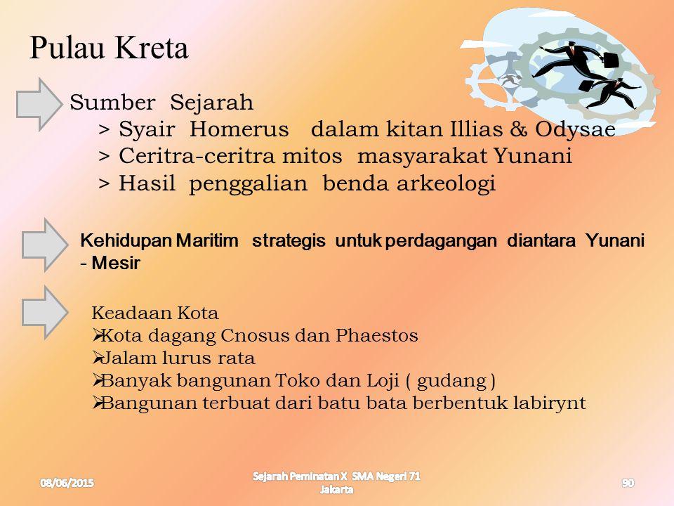 08/06/2015 Sejarah Peminatan X SMA Negeri 71 Jakarta 90 Pulau Kreta Sumber Sejarah > Syair Homerus dalam kitan Illias & Odysae > Ceritra-ceritra mitos
