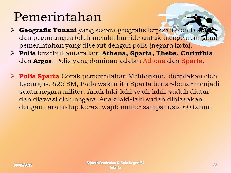 08/06/2015 Sejarah Peminatan X SMA Negeri 71 Jakarta 95  Geografis Yunani yang secara geografis terpisah oleh lautan dan pegunungan telah melahirkan