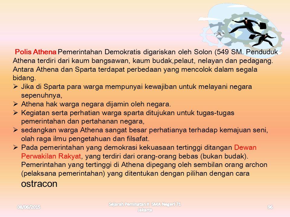 08/06/2015 Sejarah Peminatan X SMA Negeri 71 Jakarta 96 Polis Athena Pemerintahan Demokratis digariskan oleh Solon (549 SM. Penduduk Athena terdiri da