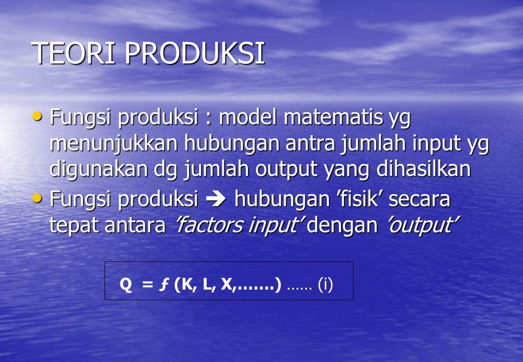 TEORI PRODUKSI Fungsi produksi : model matematis yg menunjukkan hubungan antra jumlah input yg digunakan dg jumlah output yang dihasilkan Fungsi produ