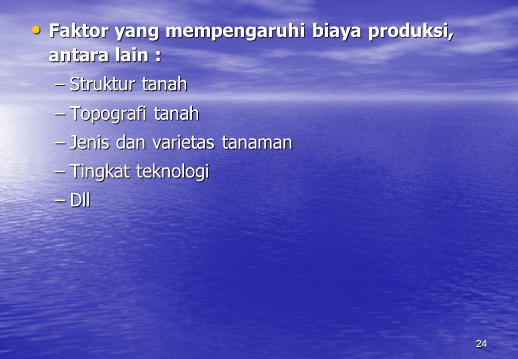 24 Faktor yang mempengaruhi biaya produksi, antara lain : Faktor yang mempengaruhi biaya produksi, antara lain : –Struktur tanah –Topografi tanah –Jen