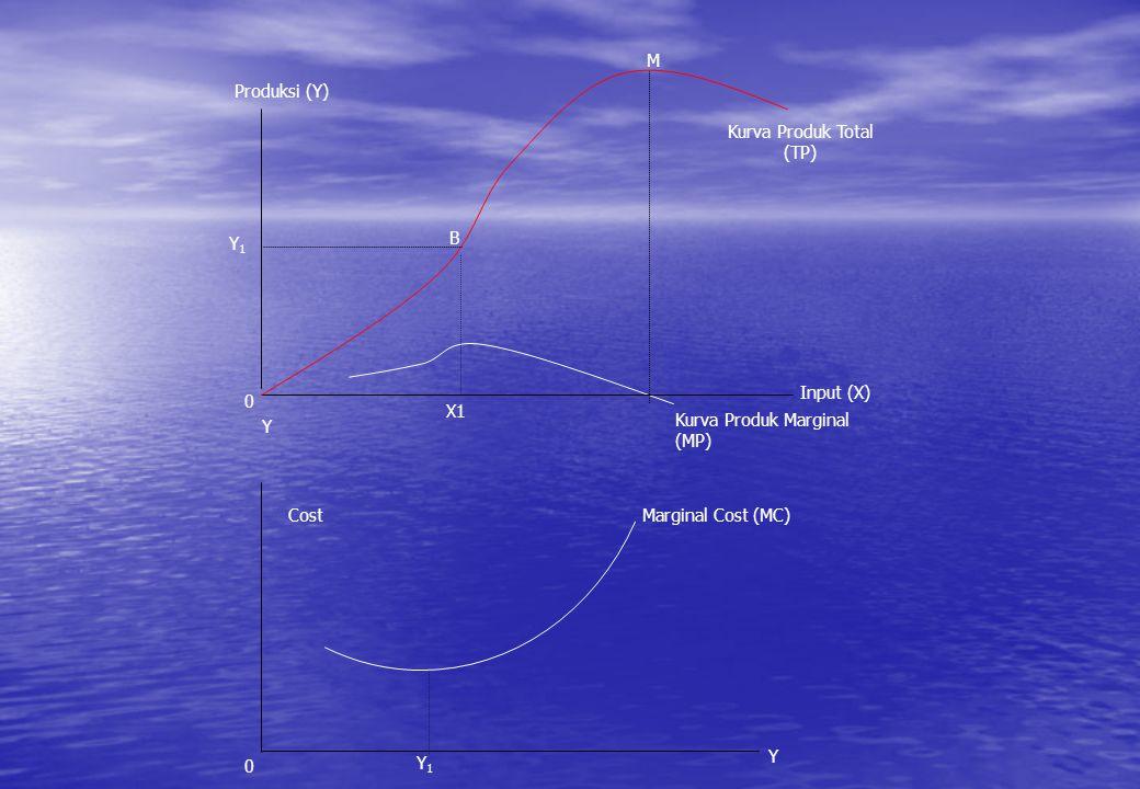 B M Y1Y1 Cost Y1Y1 0 Kurva Produk Marginal (MP) Y 0 X1 Kurva Produk Total (TP) Produksi (Y) Input (X) Y Marginal Cost (MC)