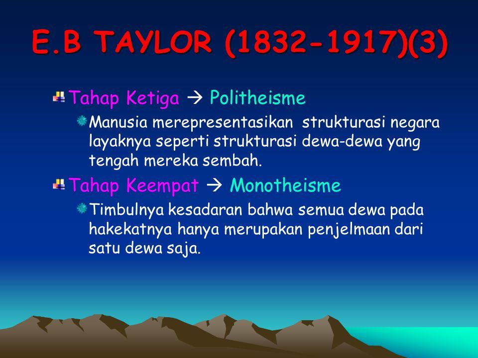 E.B TAYLOR (1832-1917)(3) Tahap Ketiga  Politheisme Manusia merepresentasikan strukturasi negara layaknya seperti strukturasi dewa-dewa yang tengah m