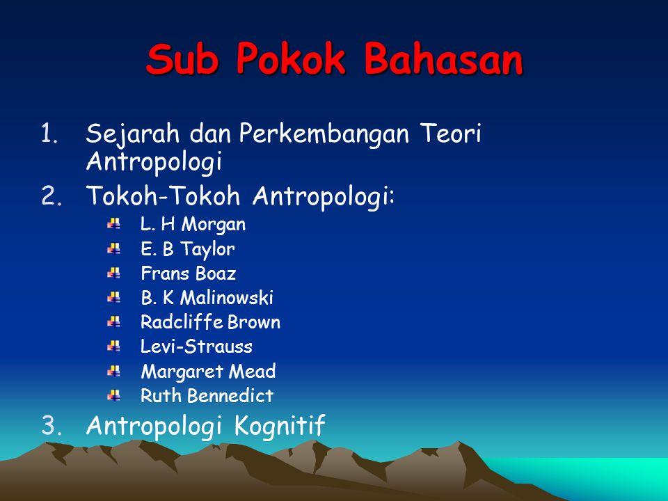 Sub Pokok Bahasan 1.Sejarah dan Perkembangan Teori Antropologi 2.Tokoh-Tokoh Antropologi: L. H Morgan E. B Taylor Frans Boaz B. K Malinowski Radcliffe