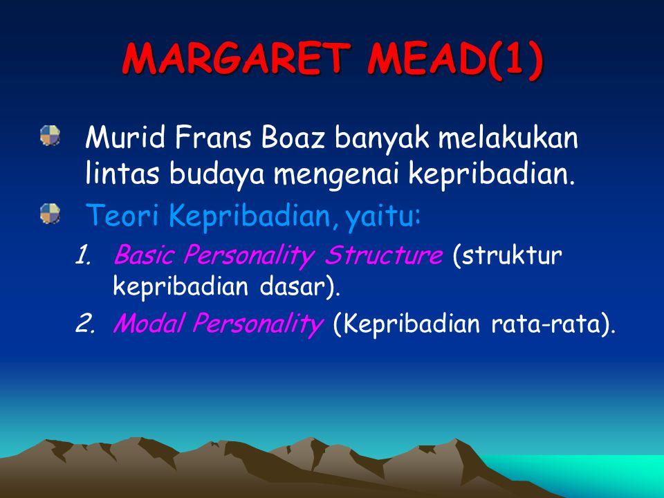 MARGARET MEAD(1) Murid Frans Boaz banyak melakukan lintas budaya mengenai kepribadian. Teori Kepribadian, yaitu: 1.Basic Personality Structure (strukt