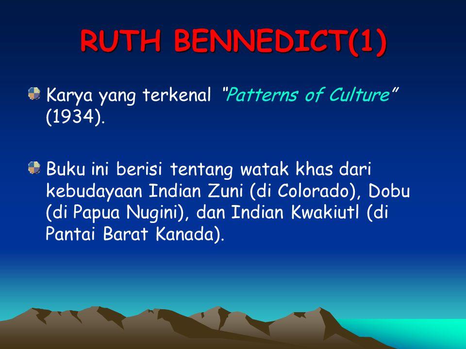 "RUTH BENNEDICT(1) Karya yang terkenal ""Patterns of Culture"" (1934). Buku ini berisi tentang watak khas dari kebudayaan Indian Zuni (di Colorado), Dobu"