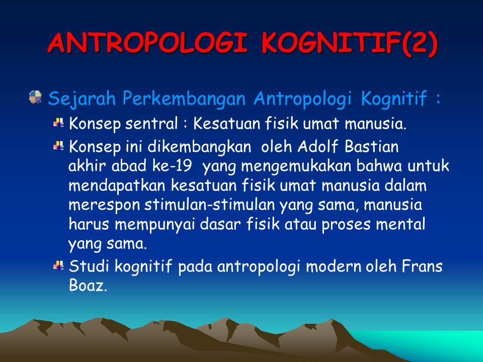 ANTROPOLOGI KOGNITIF(2) Sejarah Perkembangan Antropologi Kognitif : Konsep sentral : Kesatuan fisik umat manusia. Konsep ini dikembangkan oleh Adolf B