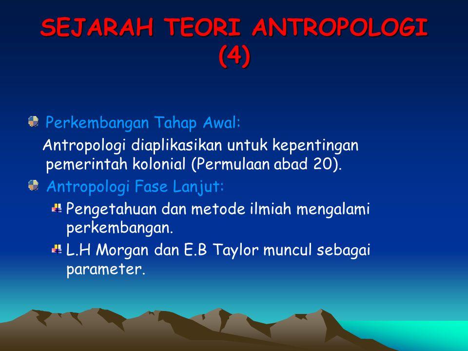 SEJARAH TEORI ANTROPOLOGI (4) Perkembangan Tahap Awal: Antropologi diaplikasikan untuk kepentingan pemerintah kolonial (Permulaan abad 20). Antropolog