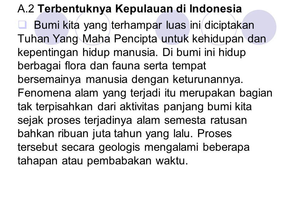 A.2 Terbentuknya Kepulauan di Indonesia  Bumi kita yang terhampar luas ini diciptakan Tuhan Yang Maha Pencipta untuk kehidupan dan kepentingan hidup