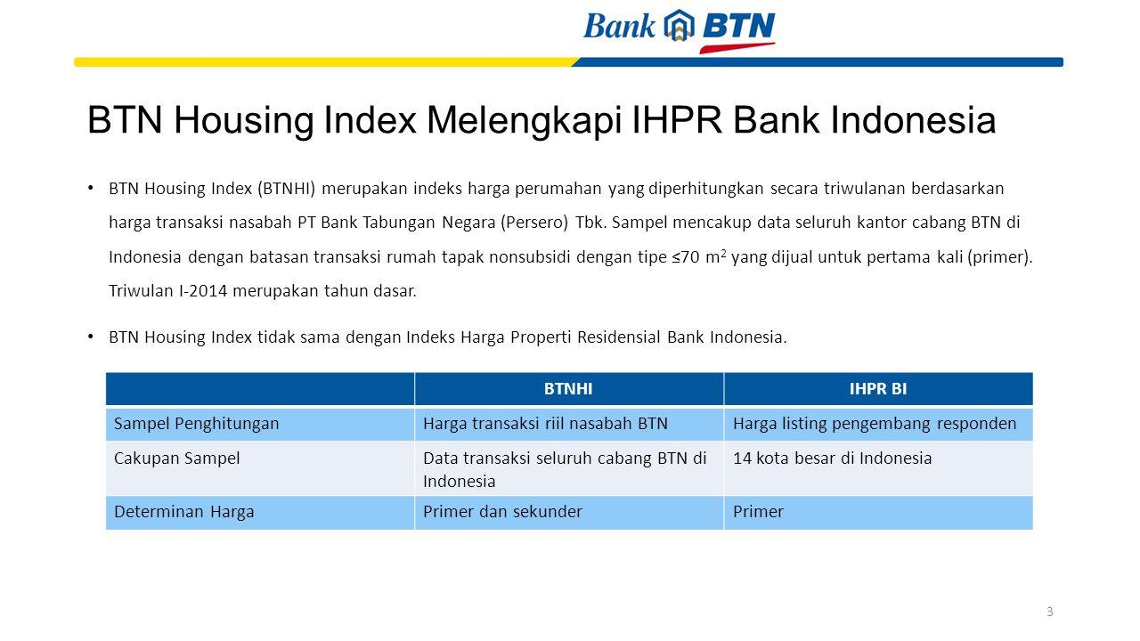 BTN Housing Index (BTNHI) merupakan indeks harga perumahan yang diperhitungkan secara triwulanan berdasarkan harga transaksi nasabah PT Bank Tabungan