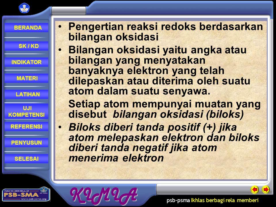 psb-psma Ikhlas berbagi rela memberi REFERENSI LATIHAN MATERI PENYUSUN INDIKATOR SK / KD UJI KOMPETENSI BERANDA SELESAI Pengertian reaksi redoks bedas