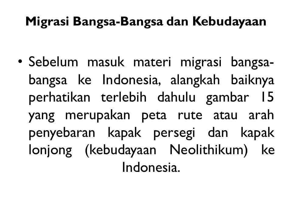 Migrasi Bangsa-Bangsa dan Kebudayaan Sebelum masuk materi migrasi bangsa- bangsa ke Indonesia, alangkah baiknya perhatikan terlebih dahulu gambar 15 y