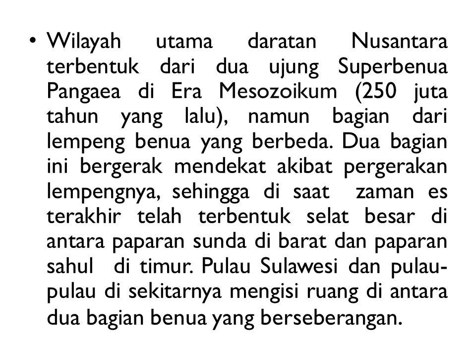 Wilayah utama daratan Nusantara terbentuk dari dua ujung Superbenua Pangaea di Era Mesozoikum (250 juta tahun yang lalu), namun bagian dari lempeng be