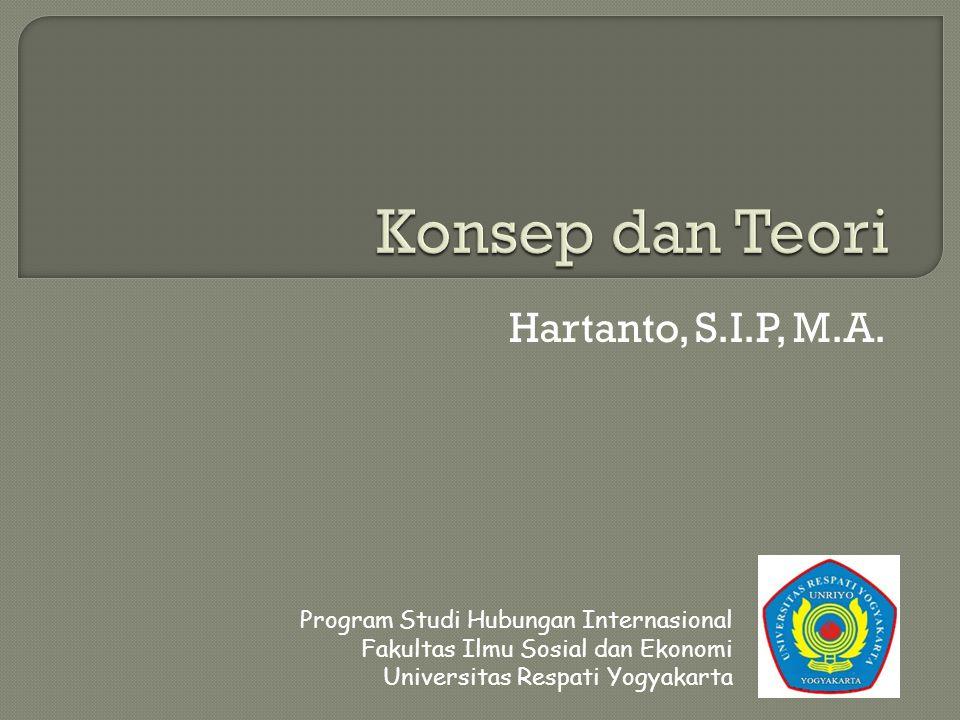 Hartanto, S.I.P, M.A. Program Studi Hubungan Internasional Fakultas Ilmu Sosial dan Ekonomi Universitas Respati Yogyakarta