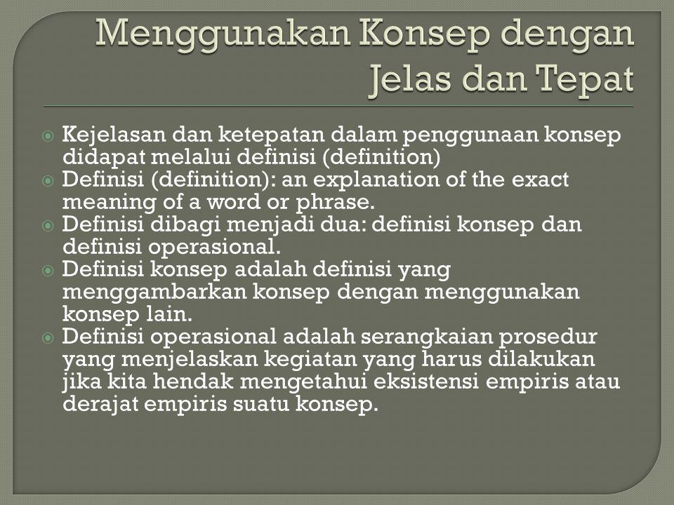  Kejelasan dan ketepatan dalam penggunaan konsep didapat melalui definisi (definition)  Definisi (definition): an explanation of the exact meaning o