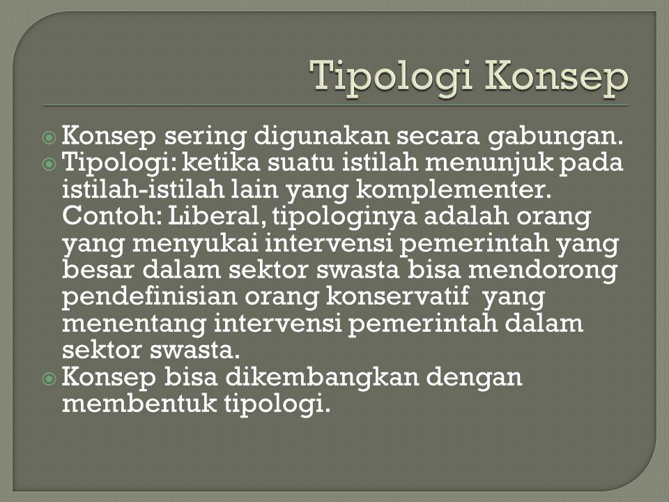  Konsep sering digunakan secara gabungan.  Tipologi: ketika suatu istilah menunjuk pada istilah-istilah lain yang komplementer. Contoh: Liberal, tip
