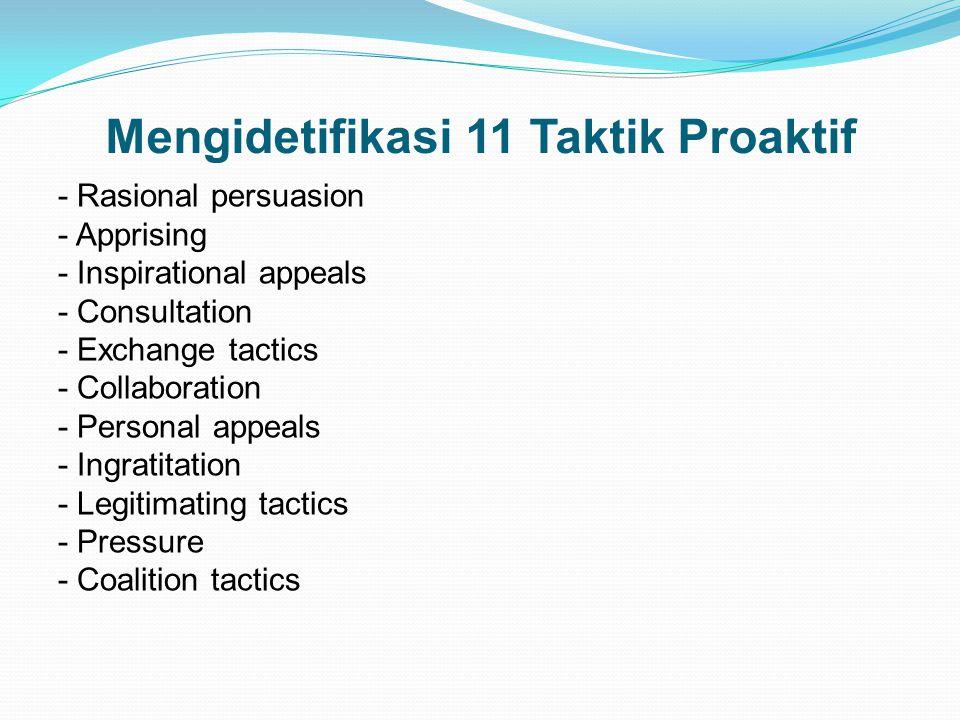 Mengidetifikasi 11 Taktik Proaktif - Rasional persuasion - Apprising - Inspirational appeals - Consultation - Exchange tactics - Collaboration - Perso