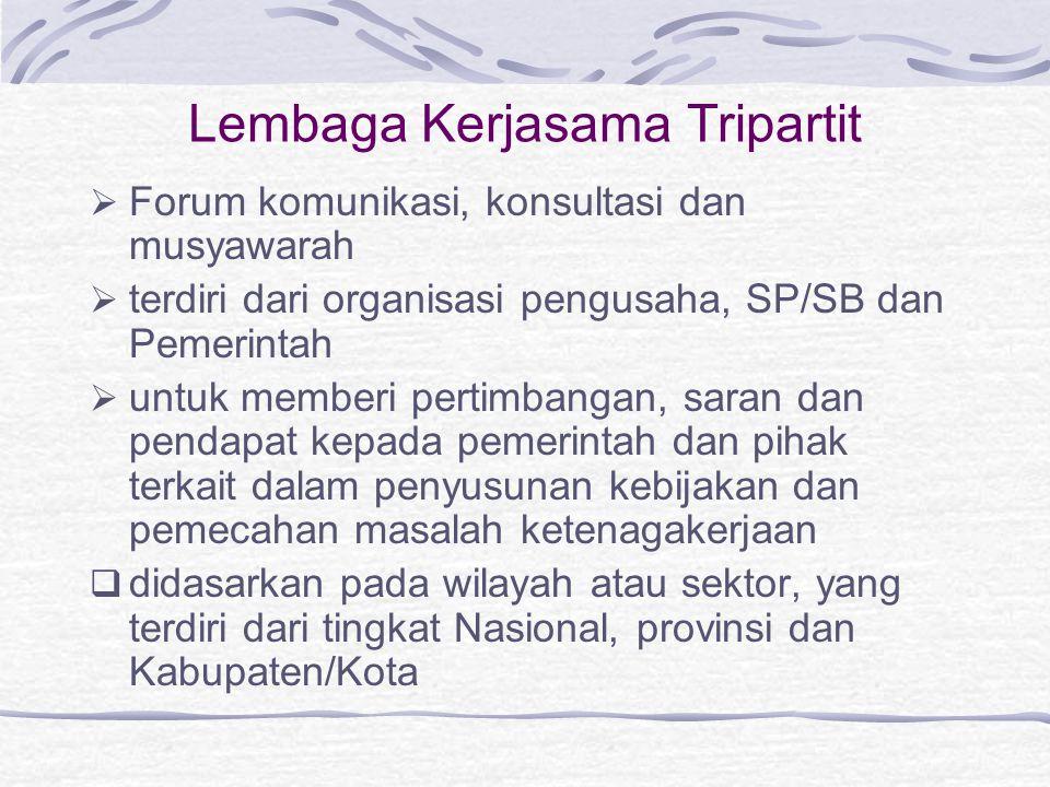 Lembaga Kerjasama Tripartit  Forum komunikasi, konsultasi dan musyawarah  terdiri dari organisasi pengusaha, SP/SB dan Pemerintah  untuk memberi pe