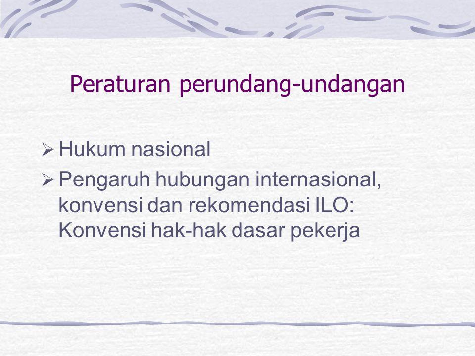 Peraturan perundang-undangan  Hukum nasional  Pengaruh hubungan internasional, konvensi dan rekomendasi ILO: Konvensi hak-hak dasar pekerja