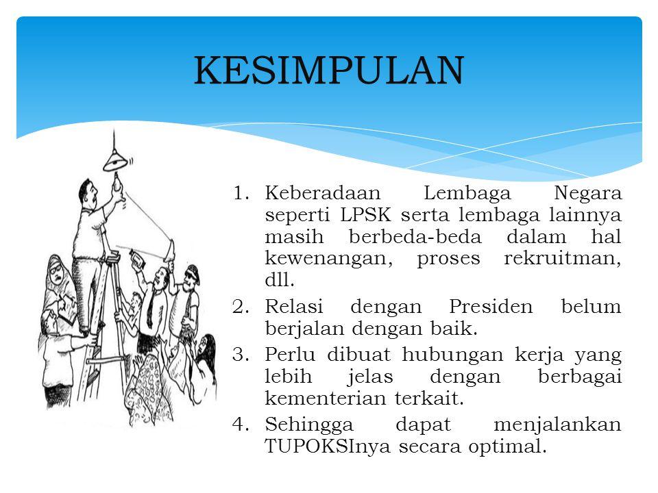 1.Keberadaan Lembaga Negara seperti LPSK serta lembaga lainnya masih berbeda-beda dalam hal kewenangan, proses rekruitman, dll.