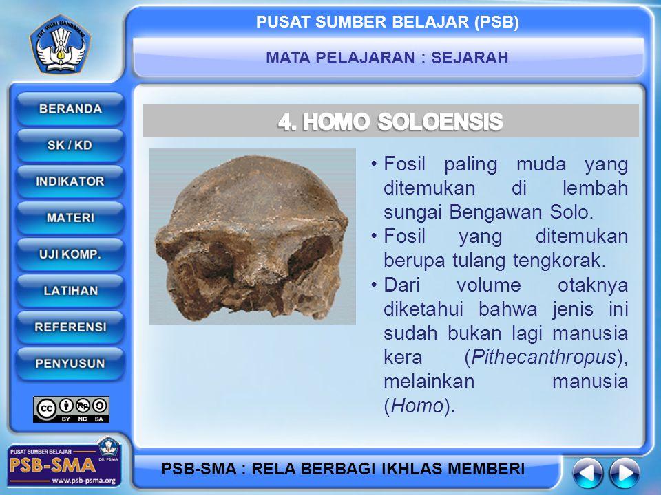 PUSAT SUMBER BELAJAR (PSB) MATA PELAJARAN : SEJARAH PSB-SMA : RELA BERBAGI IKHLAS MEMBERI Fosil paling muda yang ditemukan di lembah sungai Bengawan Solo.