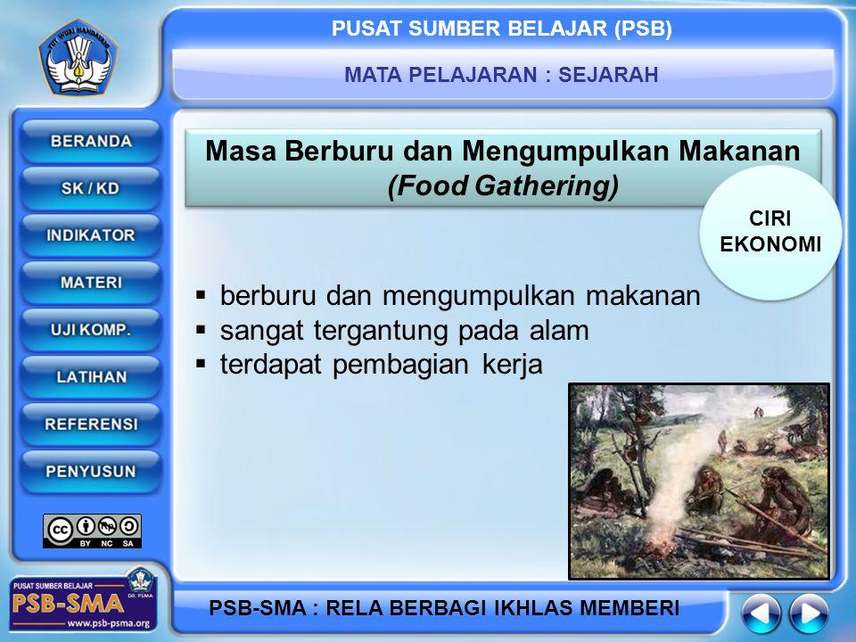 PUSAT SUMBER BELAJAR (PSB) MATA PELAJARAN : SEJARAH PSB-SMA : RELA BERBAGI IKHLAS MEMBERI Masa Berburu dan Mengumpulkan Makanan (Food Gathering) Masa