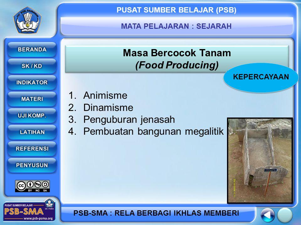 PUSAT SUMBER BELAJAR (PSB) MATA PELAJARAN : SEJARAH PSB-SMA : RELA BERBAGI IKHLAS MEMBERI Masa Bercocok Tanam (Food Producing) Masa Bercocok Tanam (Food Producing) 1.Animisme 2.Dinamisme 3.Penguburan jenasah 4.Pembuatan bangunan megalitik KEPERCAYAAN
